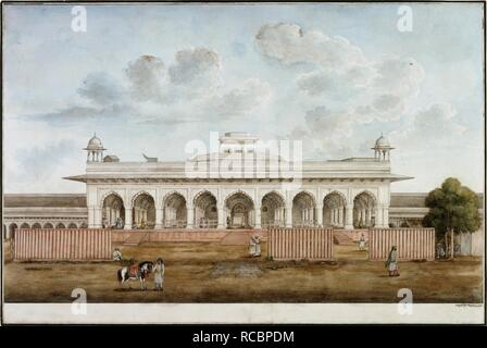 The Divan-i Am in the Red Fort, Delhi, with screens erected in front and groups of people both inside and outside the building. C.1840. Diwan-i Am. Inscribed beneath in Persian: 'naqsha-i divan-i 'am qila'-i mubarak-i shahjahanabad..' India. watercolour. Delhi style. Source: Add.Or.4668. Language: Persian. Author: Mazhar 'Ali Khan. - Stock Photo