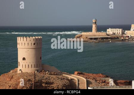 Watchtower at Al-Ayjah near Sur in the Gulf of Oman, Oman, Arabian Peninsula, Middle East, Asia - Stock Photo
