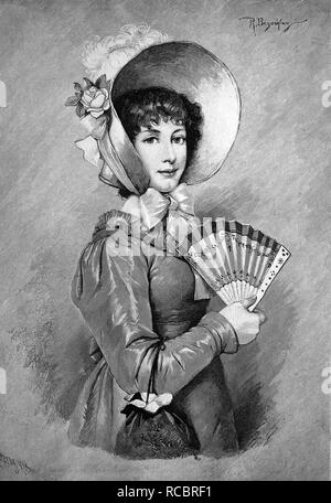 Women's fashion in the Biedermeier period, 1820, historical wood engraving, 1886 - Stock Photo