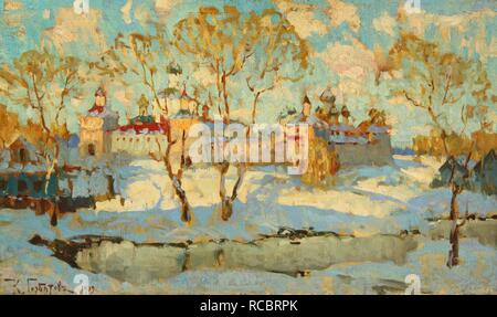 Russian Monastery in Winter. Museum: PRIVATE COLLECTION. Author: Gorbatov, Konstantin Ivanovich. - Stock Photo