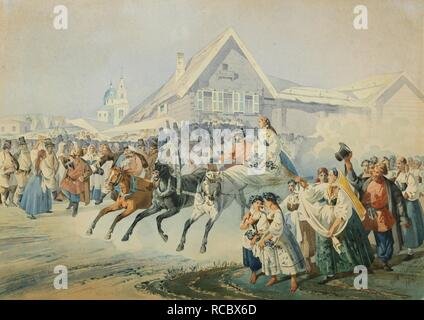 Wedding Scene. Museum: PRIVATE COLLECTION. Author: Golyshev, Ivan Alexandrovich. - Stock Photo