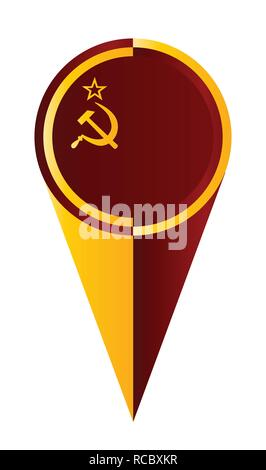 USSR map pointer pin icon location flag marker - Stock Photo
