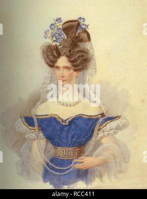Portrait of Empress Alexandra Fyodorovna (Charlotte of Prussia), Emperor's Nicholas I. wife (1798-1860). Museum: State Hermitage, St. Petersburg. Author: Briullov, Alexander Pavlovich. - Stock Photo