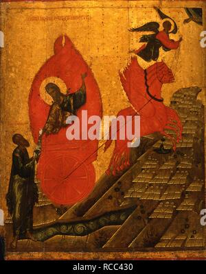 The Prophet Elijah and the Fiery Chariot. Museum: State History Museum, Moscow. Author: Russian icon. - Stock Photo