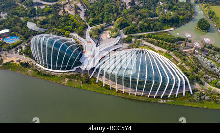 Flower Dome, and Cloud Forest, Gardens by the Bay, Singapore - Stock Photo