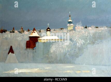 Russian Winter. Museum: PRIVATE COLLECTION. Author: Anokhin, Nikolay Yurievich. - Stock Photo