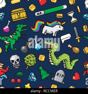Pixel art 8 bit objects Seamless pattern. Retro game assets. Set of icons. Vintage computer video arcades. Characters dinosaur pony rainbow unicorn snake dragon monkey and coins, Winner's trophy. - Stock Photo