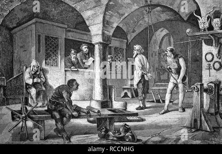 The extortion of a confession in a torture chamber, historical illustration, wood engraving, circa 1888 - Stock Photo