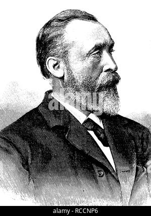 Ernst Heinrich Wilhelm Stephan, von Stephan since 1885, 1831 - 1897, historic wood engraving, about 1897 - Stock Photo