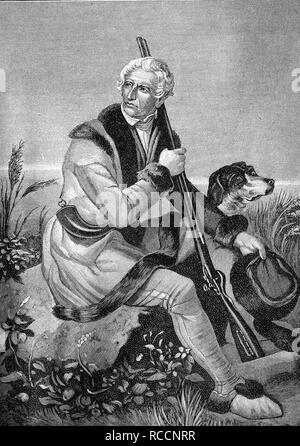 Daniel Boone, 1734 - 1820, an US-American pioneer and hunter, historic wood engraving, about 1897 - Stock Photo