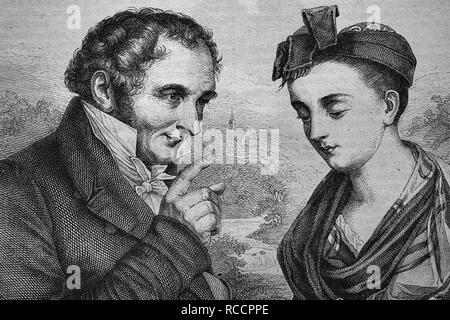 Johann Peter Hebel, 1760 - 1826, poet, and Breneli, actually Veronica Rohre, 1779 - 1869, probably his mistress - Stock Photo