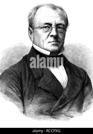 Henry Leo 1799 - 1878, a German historian and Prussian politician, historical woodcut, circa 1870 - Stock Photo
