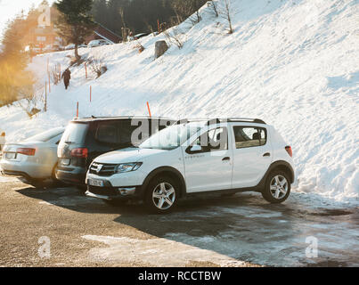 SEEBACH MUMMELSEE, FEB 25, 2018: Dacia Stepway car parked on a german parking near the Black Forest mountains - Stock Photo