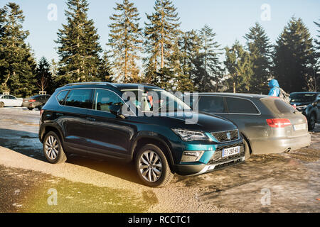 SEEBACH MUMMELSEE, FEB 25, 2018: Seat Ateca SUV car parked on a german parking near the Black Forest mountains - Stock Photo