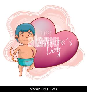 cupid with arc and heart to valentines day celebration - Stock Photo