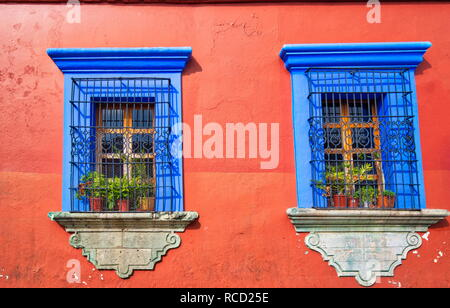 Oaxaca, Scenic old city streets and colorful colonial buildings in historic city center - Stock Photo