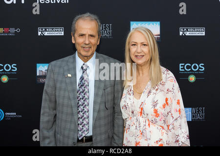 Los Angeles, USA. 06th June, 2018. Andreas Kyprianides (L) and Andrea Kyprianides (R) arrive at Los Angeles Greek Film Festival 2018. - Stock Photo