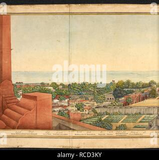 Section of a panorama of Delhi. Panorama of Delhi. 25th November 1846. A panorama of Delhi taken through almost 360° from the top of the Lahore Gate of the Red Fort, Delhi. Water-colour and body-colour with gold; 665 by 4908 mm (530 by 4828 mm within frame) on five sheets of paper, glued together to form a scroll. Source: Add.Or.4126. Language: Persian, English and Urdu. Author: Mazhar 'Ali Khan. - Stock Photo