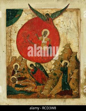 The Prophet Elijah and the Fiery Chariot. Museum: Museum of Russian Icons, Clinton. - Stock Photo