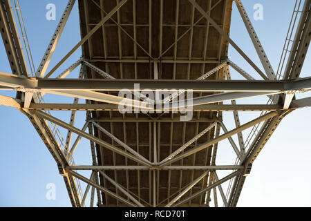 Steel metal bridge support girders and crossbeams of the through arch design Harbor Bridge in Corpus Christi, Texas. - Stock Photo