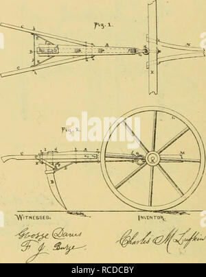 . Digest of agricultural implements, patented in the United States from A.D. 1789 to July 1881 ... Agricultural machinery; Patents. . Please note that these images are extracted from scanned page images that may have been digitally enhanced for readability - coloration and appearance of these illustrations may not perfectly resemble the original work.. Allen, James T. (James Titus); United States. Patent Office. [New York, Printed by J. C. Von Arx - Stock Photo