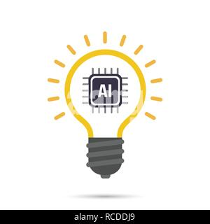 AI Artificial intelligence Technology bulb icon design element vector illustration eps10 - Stock Photo