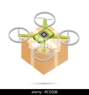 AI Artificial intelligence technology delivery drone isometric icon element vector illustration eps10 - Stock Photo