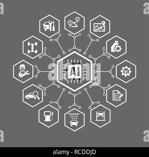 AI Artificial intelligence Technology for car vehicle and transport concept icon set in hexagon shape with connection line design element vector illus - Stock Photo