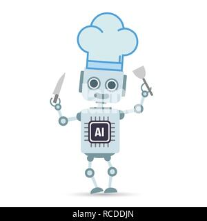 AI Artificial intelligence Technology robot is cooking food design element vector illustration eps10 - Stock Photo