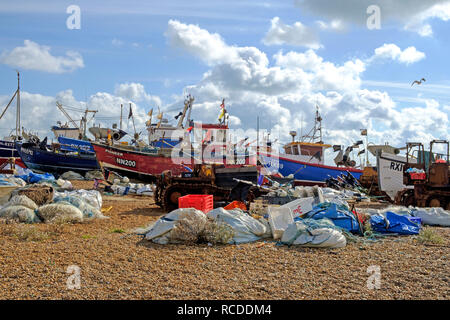Hastings Old Town Stade fishing boat beach. Hastings has one of the largest beach-launched fishing fleets in Europe - Stock Photo