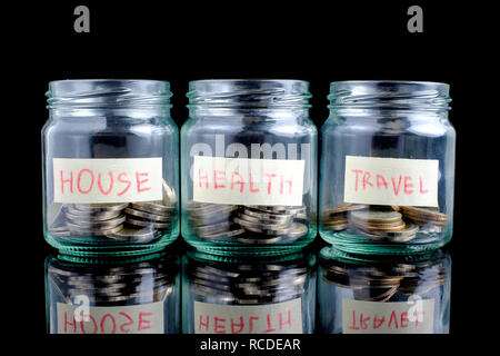Glass jars with coins and text on black background: house,health, travel,