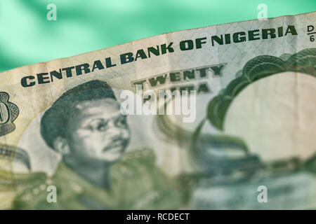 A close up detail of a twenty naira banknote issued by the Central Bank of Nigeria - Stock Photo