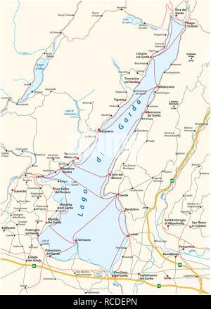map of the upper Italian Lake Garda, Italy - Stock Photo