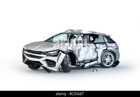 Single car crashed. Silver sedan heavily damaged on a side. Isolated on white background. Perspective view. - Stock Photo