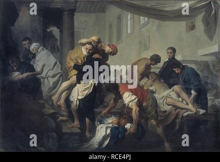 Saint Camillus de Lellis saves the sick of the Ospedale di Santo Spirito in Sassia during the flooding of the Tiber, 1598. Museum: Museo di Roma. Author: SUBLEYRAS, PIERRE.