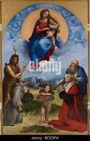 Madonna of Foligno. Museum: Musei Vaticani in Viale Vaticano, Rome. Author: Raphael (Raffaello Sanzio da Urbino). - Stock Photo