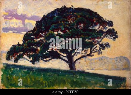 Large Pine, Saint-Tropez. Museum: State Hermitage, St. Petersburg. Author: SIGNAC, PAUL. - Stock Photo