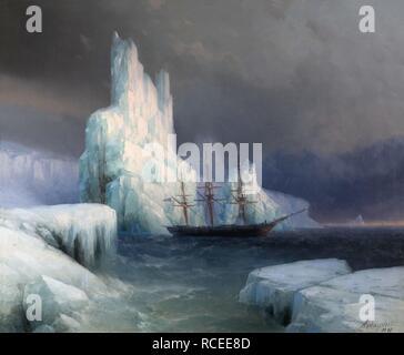Icebergs in Antarctica. Museum: I. Ayvasovsky National Art Gallery, Feodosiya. Author: AIVAZOVSKY, IVAN KONSTANTINOVICH. - Stock Photo