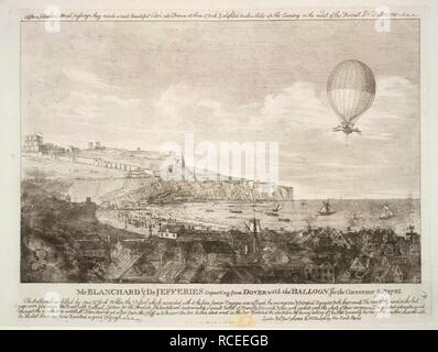 Mr Blanchard & Dr Jefferies departing from Dover. The first airbourne english channel crossing, on January 7th, 1785. A collection of broadsides and cuttings ... 1780?-1810?. Mr Blanchard & Dr Jefferies departing from Dover with the balloon, for the continent January 7th, 1785. Jean-Pierre Blanchard, with John Jeffries, an American, were the first men to cross the English Channel by balloon, from Dover to Calais. Source: L.R.301.h.3, 19. Language: English. - Stock Photo