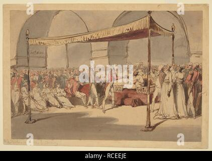 Major-General the Hon. Arthur Wellesley being received in durbar at the Chepauk Palace Madras by Azim al-Daula, Nawab of the Carnatic, 18th February 1805. Wellesley is being introduced by a languid Lord William Cavendish Bentinck, the Governor of Madras, both figures standing in front of the Nawab seated on his 'masnad,' while sitting on a sofa behind are Admiral Peter Rainier, Commander of the fleet in the East Indies, and General Sir John Caradoc, Commander-in-Chief Madras. Various wives are seated nearby, and other officers and officials of the court stand around. Inscribed in the artis - Stock Photo