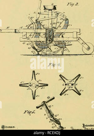 . Digest of agricultural implements, patented in the United States from A.D. 1789 to July 1881 ... Agricultural machinery; Patents. 'JhT;^iJuJfY--v*. §rr C.'K.voBjc.^^yK c:. |(tionitsB.. Jnbtntexf* 2Stieets-Shafli 1. J. B. WALL. COIIBISED EiHSOW. SEES-FLAVTEB, AVI! ROLLES.. Ko. 195.677- Plt.nt.d 5lipt,S6,lS77. Please note that these images are extracted from scanned page images that may have been digitally enhanced for readability - coloration and appearance of these illustrations may not perfectly resemble the original work.. Allen, James T. (James Titus); United States. Patent Office. [New Y - Stock Photo