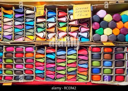 Italian leather goods, Mercato Nuovo, Florence, Tuscany, Italy, Europe - Stock Photo
