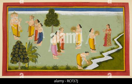 Siva's seed. Ramayana, Bala Kanda. Udaipur, 1712. This folio shows Agni carrying Siva's seed and presenting it to Ganga, personified as a woman and shown again as the river in the bottom right hand corner of the page.  Image taken from Ramayana, Bala Kanda.  Originally published/produced in Udaipur, 1712. . Source: Add. 15295, f.102. Language: Sanskrit. Stock Photo