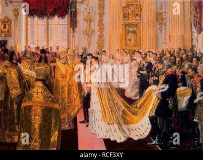 The wedding of Tsar Nicholas II and the Princess Alix of Hesse-Darmstadt on November 26, 1894. Museum: State Hermitage, St. Petersburg. Author: TUXEN, LAURITS REGNER. - Stock Photo