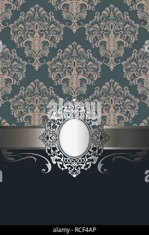 Vintage background with decorative frame and elegant patterns for vintage invitation card design. - Stock Photo