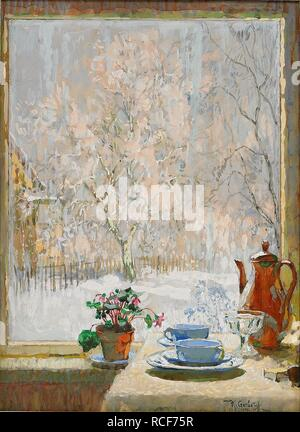 Through the Window in Winter. Museum: PRIVATE COLLECTION. Author: Gorbatov, Konstantin Ivanovich. - Stock Photo