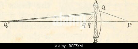 . The elements of physiological physics: an outline of the elementary facts, principles, and methods of physics; and their applications in physiology. Biophysics. Chap, xxvii.] ACHROMATIC LENS. 347 of the two prisms. Thus it became possible to make a convex lens of two different substances, so that the dispersion produced by the first part of the lens would be destroyed by the second, while the refrac- tion, though diminished, still persisted. Rays of light passing through such a lens are brought to a focus without the accompaniment of rings of colour, except to a very slight extent, the lens  - Stock Photo