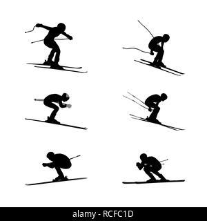 set group alpine skiing sport men downhill - Stock Photo
