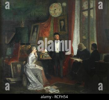 Cosima Wagner, Richard Wagner, Franz Liszt and Hans von Wolzogen in the Wahnfried, Bayreuth. Museum: Richard Wagner Museum, Luzern. Author: BECKMANN, WILHELM. - Stock Photo