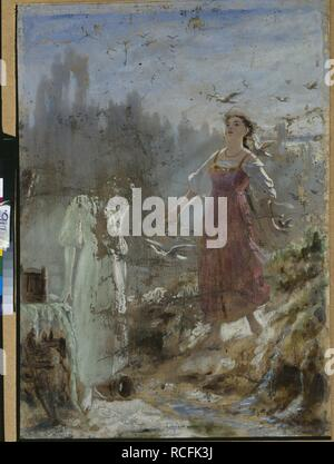 Spring Beauty and Snow Maiden. Museum: State Tretyakov Gallery, Moscow. Author: Perov, Vasili Grigoryevich. - Stock Photo